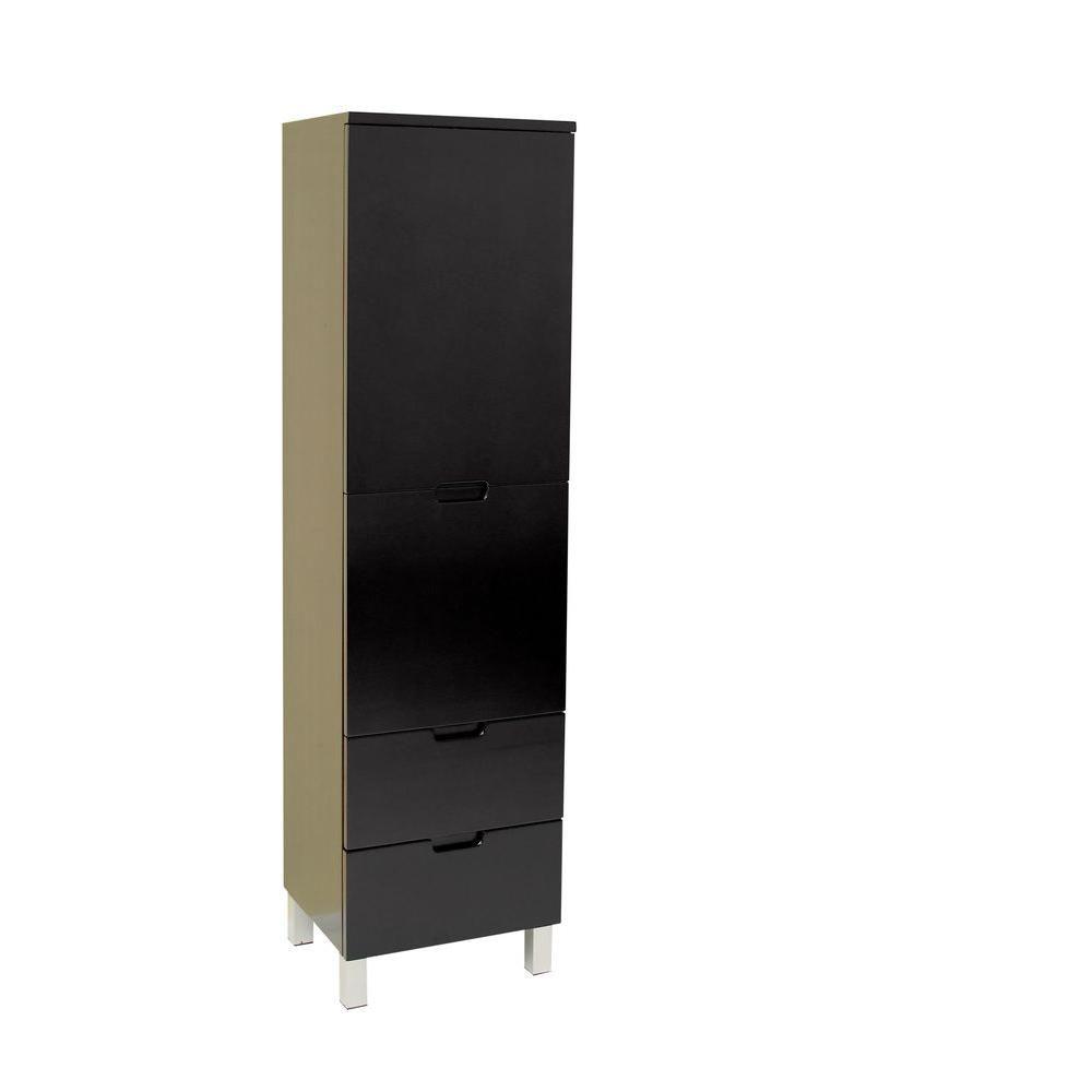 Espresso Bathroom Linen Side Cabinet With 4 Storage Areas