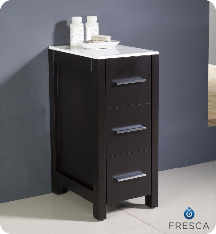 Torino Armoire à linge latérale de salle de bain espresso 12 po