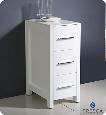 Fresca Torino 12 Inch White Bathroom Linen Side Cabinet The Home Depot Canada