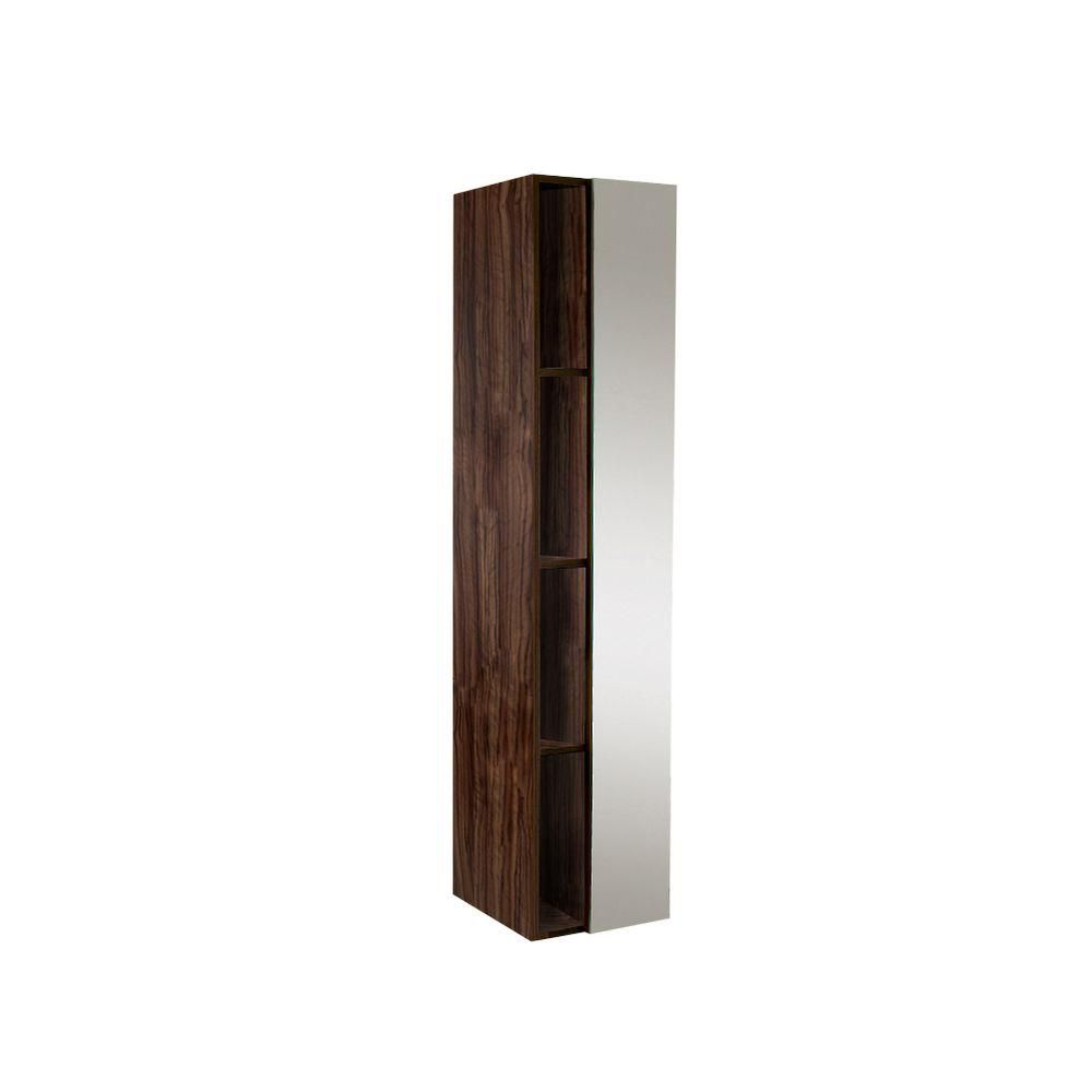 Armoire à linge latérale de salle de bain noyer avec 4 casiers de rangement et miroir