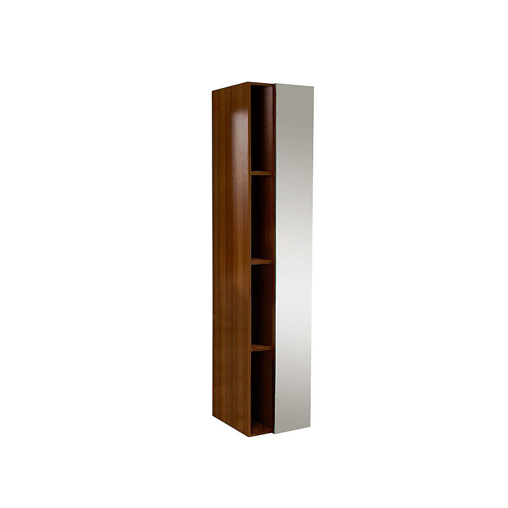 Teak Bathroom Linen Side Cabinet With 4 Cubby Holes And Mirror