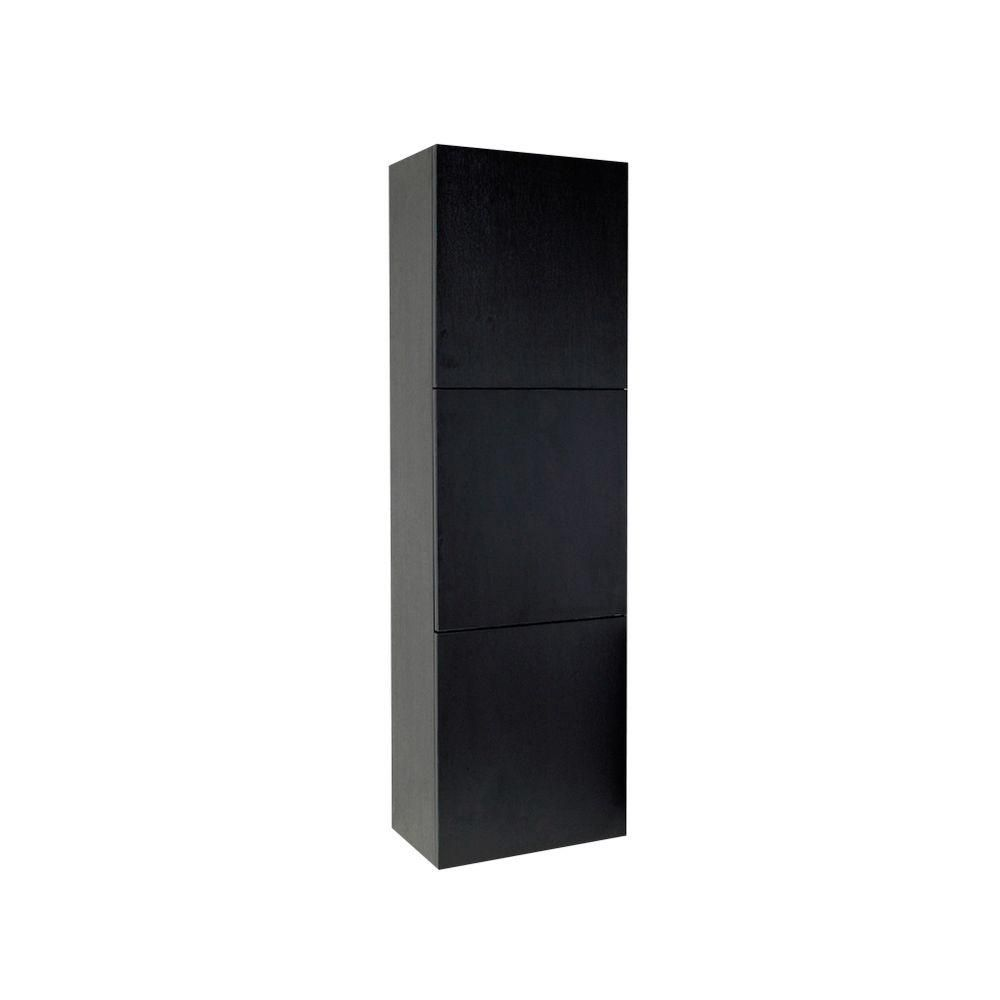 Black Bathroom Linen Side Cabinet With 3 Large Storage Areas