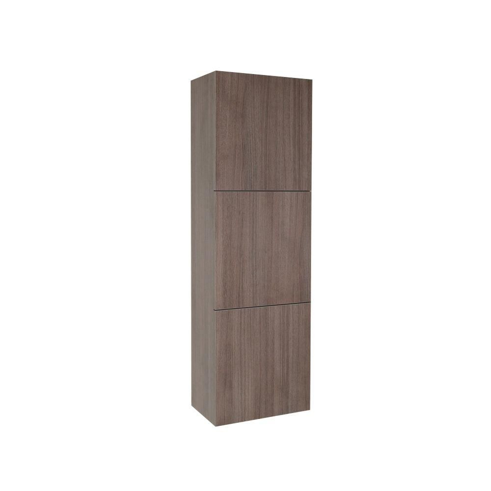 Fresca Gray Oak Bathroom Linen Side Cabinet With 3 Large Storage Areas