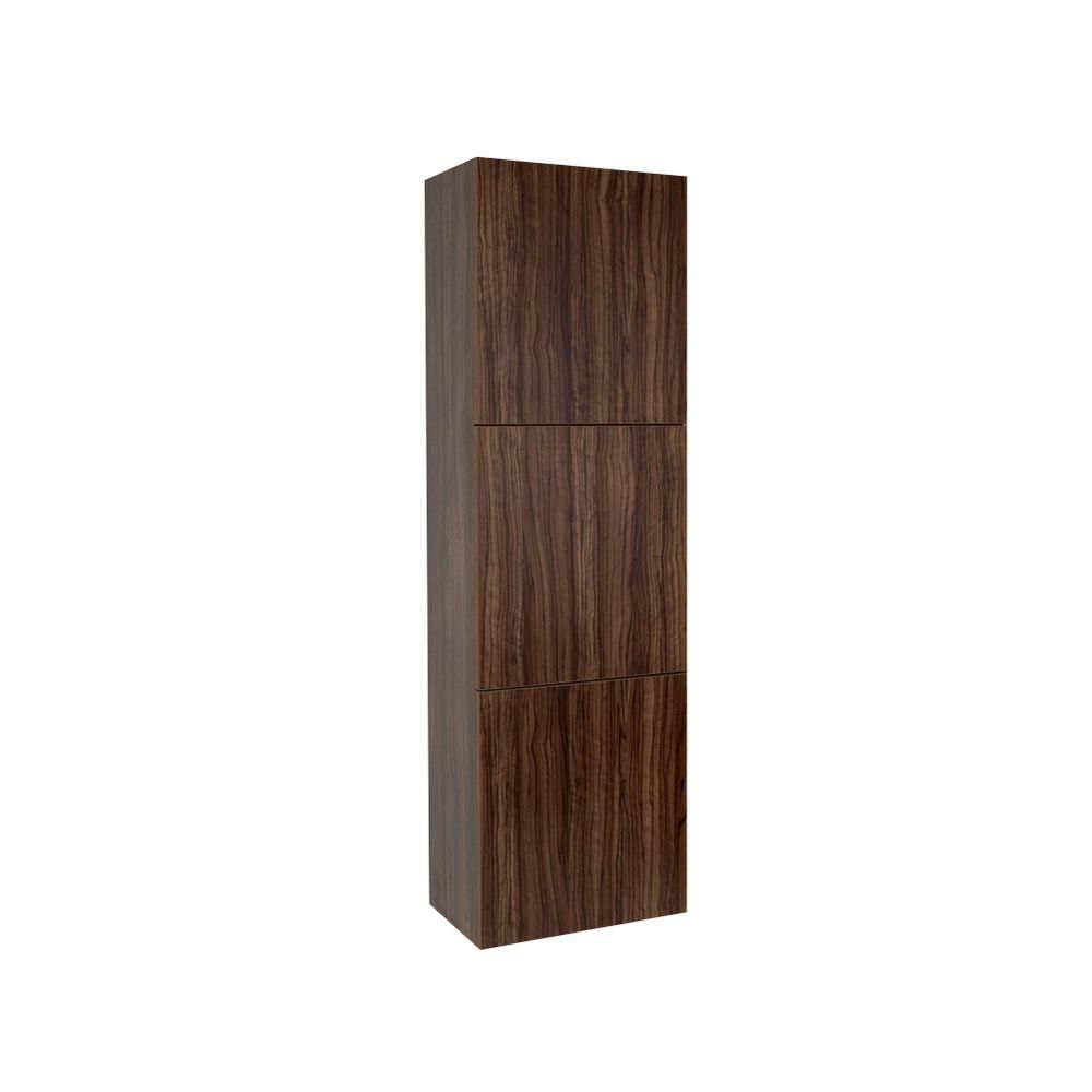 Walnut Bathroom Linen Side Cabinet With 3 Large Storage Areas