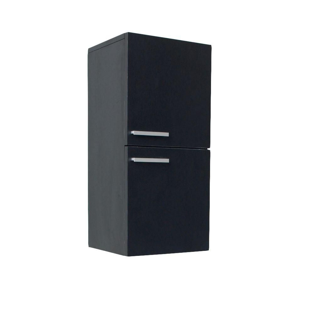 Black Bathroom Linen Side Cabinet With 2 Storage Areas