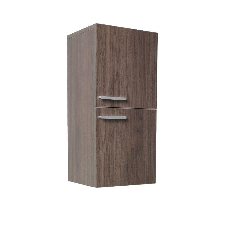 Gray Oak Bathroom Linen Side Cabinet With 2 Storage Areas