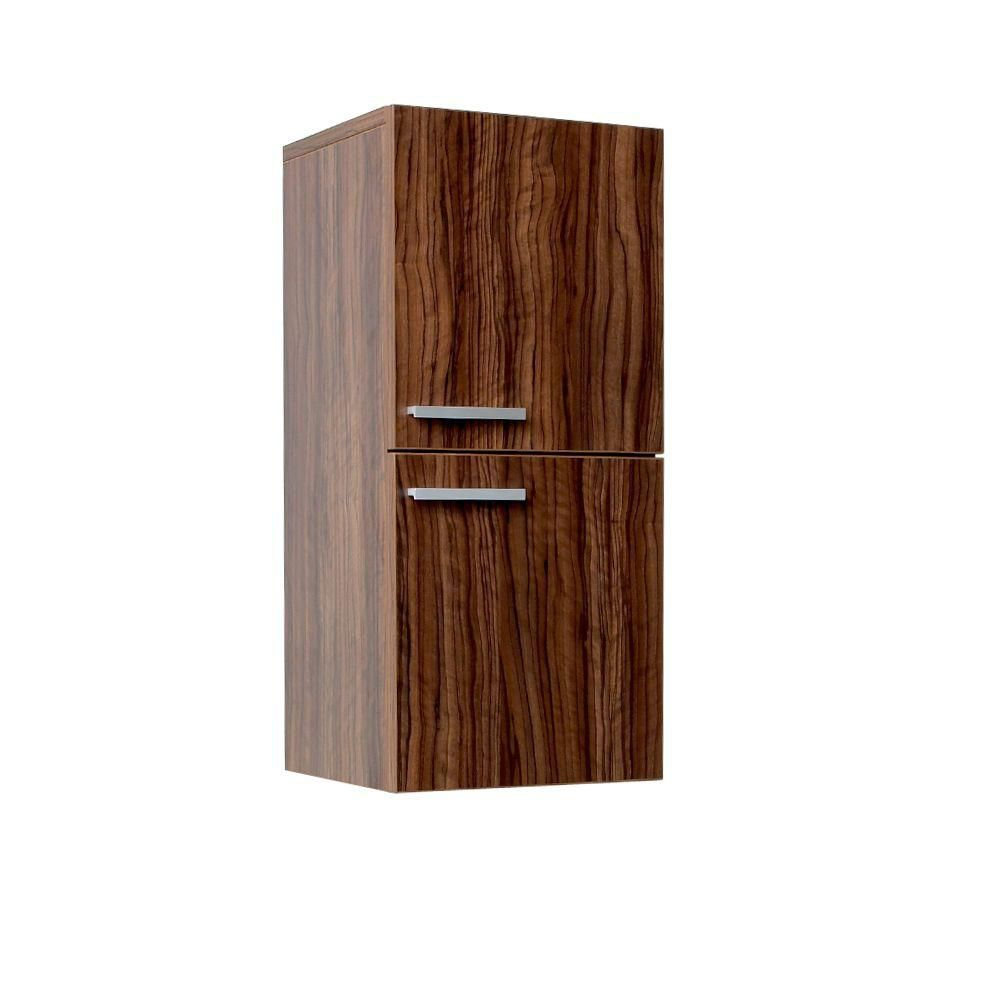 Walnut Bathroom Linen Side Cabinet With 2 Storage Areas
