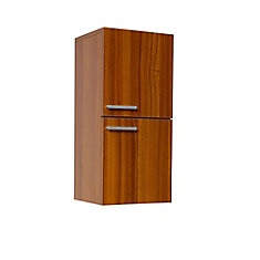Fresca Teak Bathroom Linen Side Cabinet With 2 Storage Areas The Home Depot
