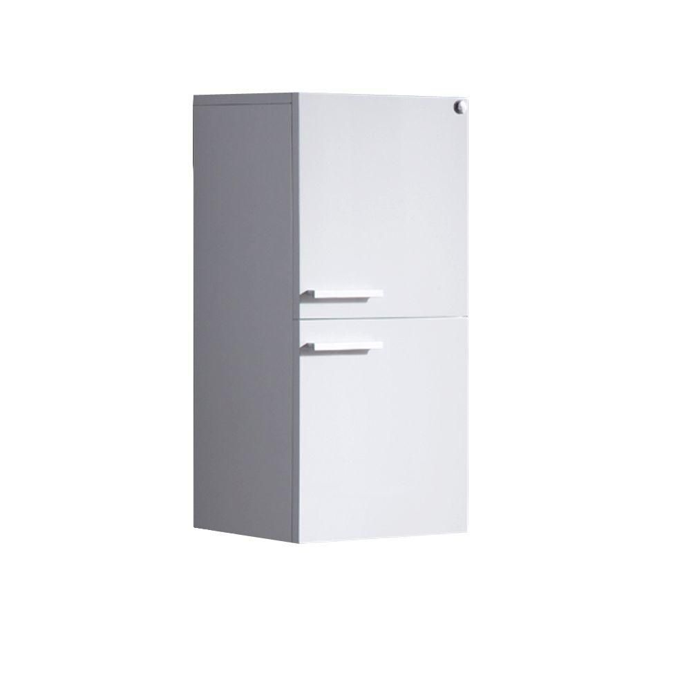 White Bathroom Linen Side Cabinet With 2 Storage Areas