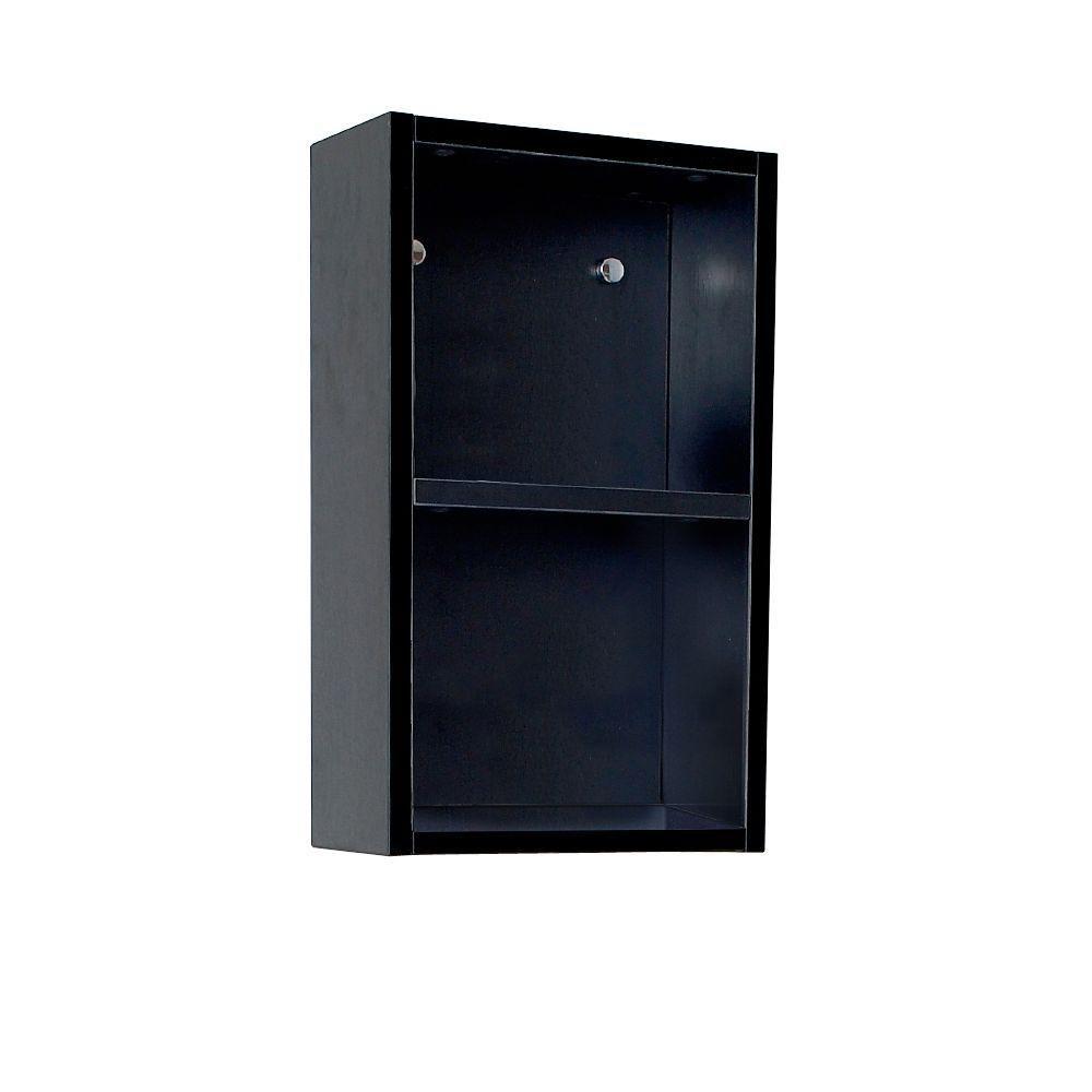 Armoire à linge latérale de salle de bain noire avec 2 espaces de rangement ouverts