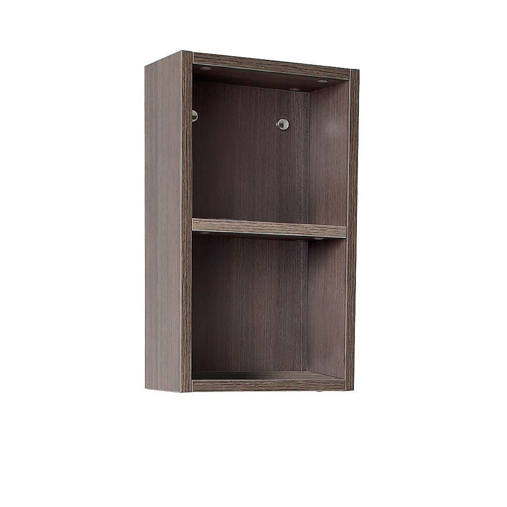 fresca gray oak bathroom linen side cabinet with 2 open storage areas