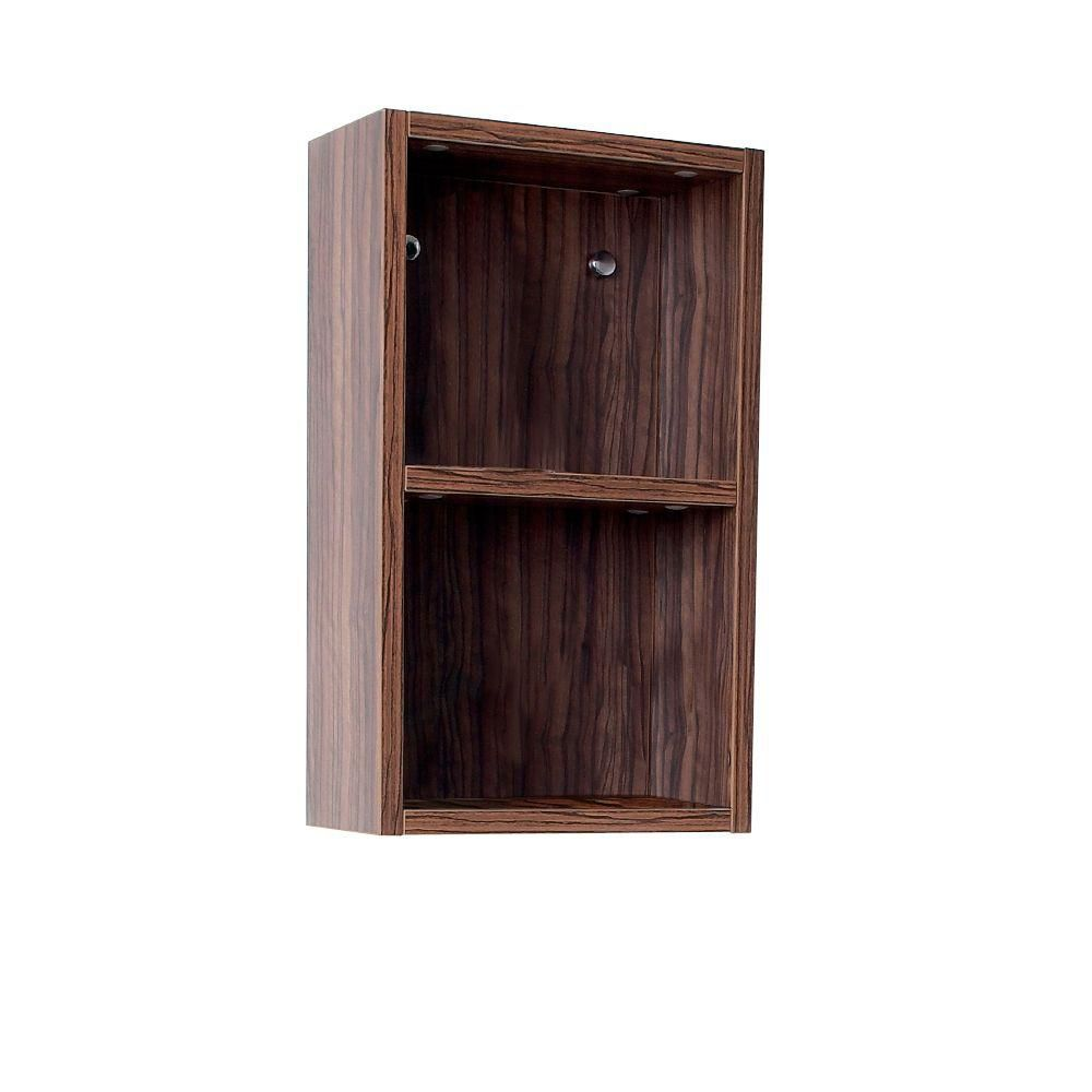 Walnut Bathroom Linen Side Cabinet With 2 Open Storage Areas