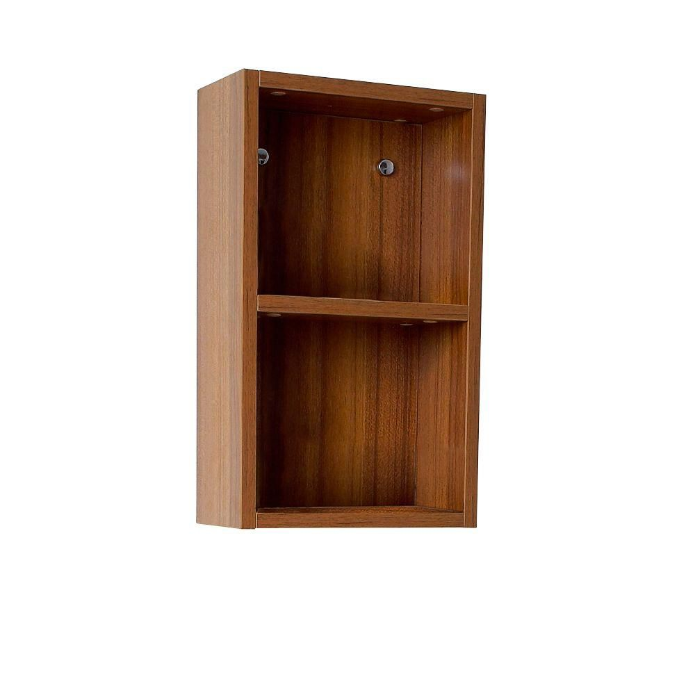 Teak Bathroom Linen Side Cabinet With 2 Open Storage Areas