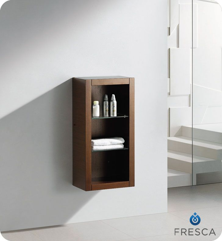 Wenge Brown Bathroom Linen Side Cabinet With 2 Glass Shelves