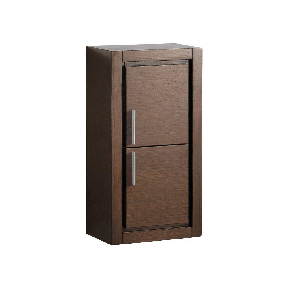 Armoire à linge latérale de salle de bain wengé brun avec 2 portes