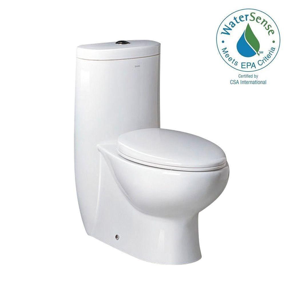 Delphinus 1-Piece 1.6 GPF Dual Flush Elongated Bowl Toilet with Soft Close Seat