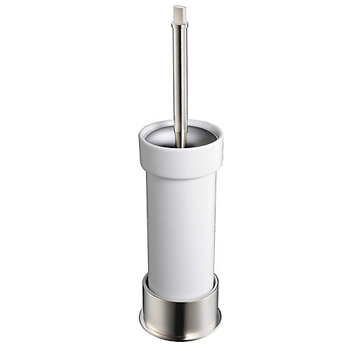 Glorioso Ceramic Toilet Brush/Holder - Brushed Nickel