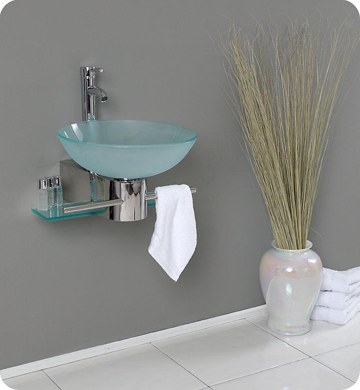 Cristallino Meuble-lavabo de salle de bain en verre moderne avec évier  vasque givré