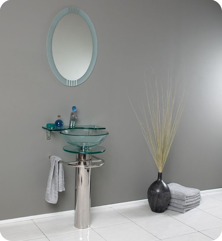 Ovale 20 3/4-inch W Vanity in Glass Finish with Frosted Edge Mirror