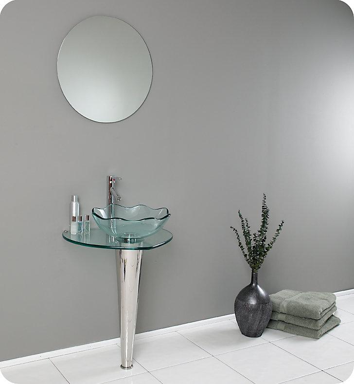 Netto Meuble-lavabo de salle de bain en verre moderne avec évier vasque à  bord ondulé