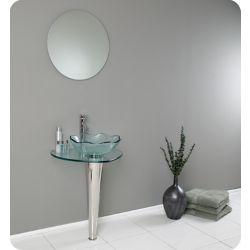 Fresca Netto 24-inch x 34.38-inch x 20-inch 1-Hole Curved Steel Bathroom Sink with