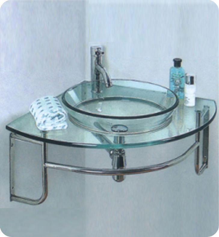 Ordinato 24-Inch W x 24-Inch D Corner Mount Glass Vanity