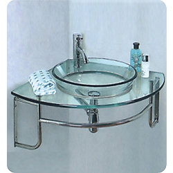 Fresca Ordinato 24-Inch W x 24-Inch D Corner Mount Glass Vanity