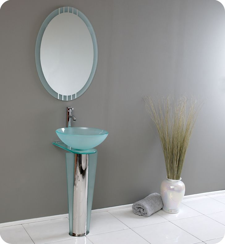Vitale 16 1/2-inch W Vanity in Glass Finish with Mirror