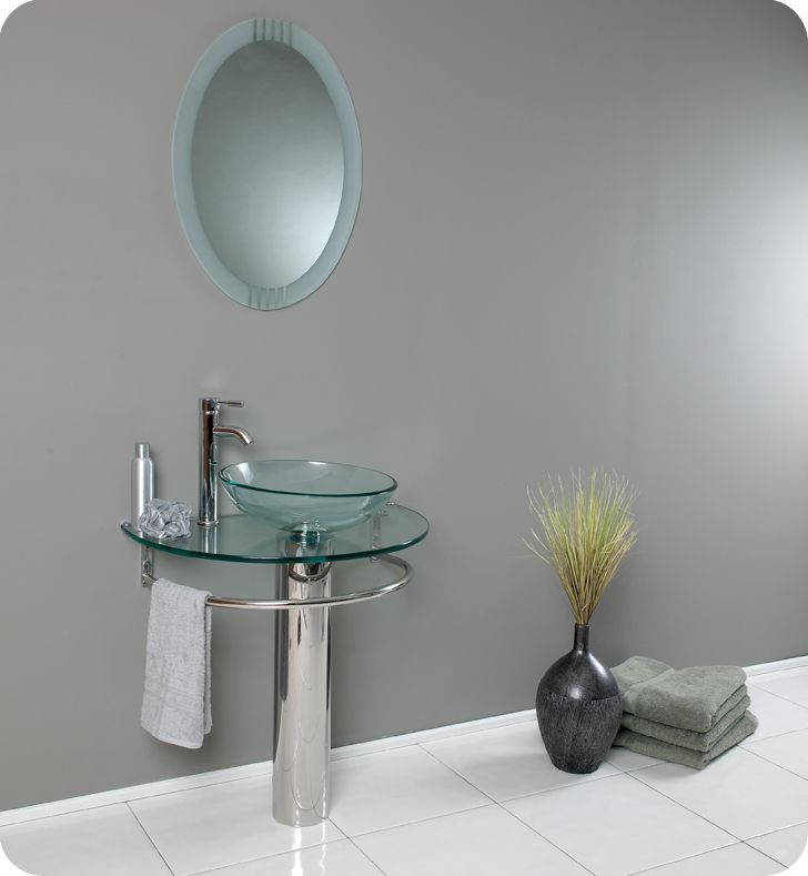Attrazione Modern Glass Bathroom Vanity With Frosted Edge Mirror
