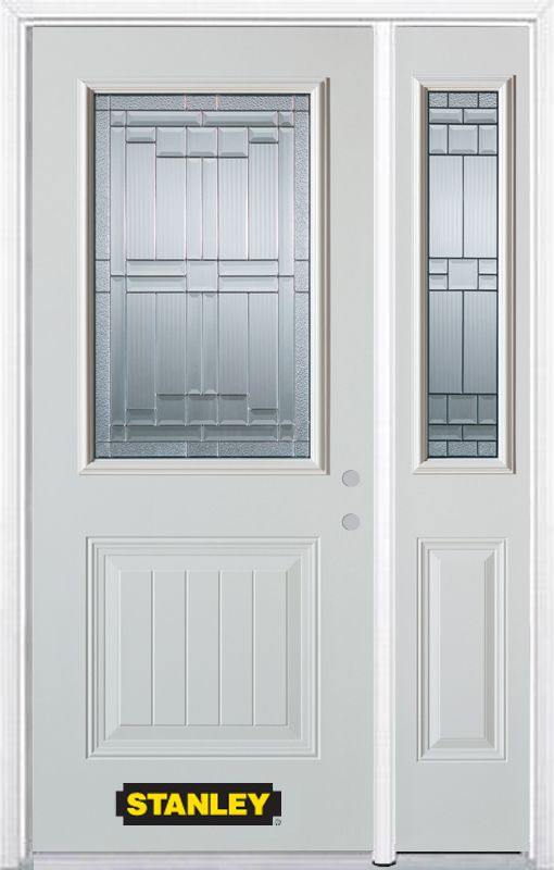 52-inch x 82-inch Seattle 1/2-Lite 1-Panel White Steel Entry Door with Sidelite and Brickmould