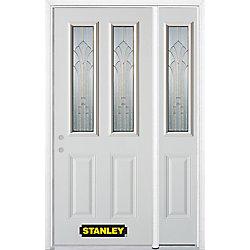 Stanley Doors Porte dentrée en acier préfini en blanc, munie de deux panneaux et de deux verre, 53 po x 82 po avec panneaux latéraux et moulure de brique - ENERGY STAR®