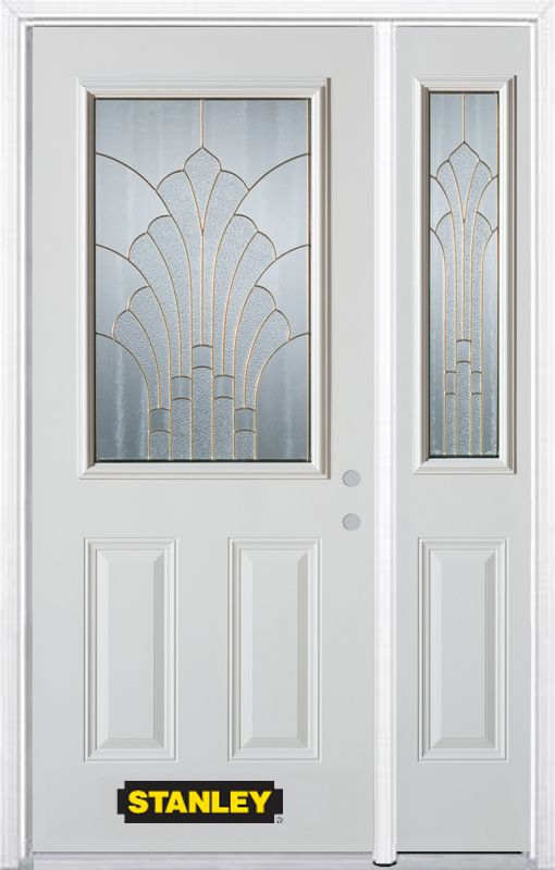 52-inch x 82-inch Gladis 1/2-Lite 2-Panel White Steel Entry Door with Sidelite and Brickmould