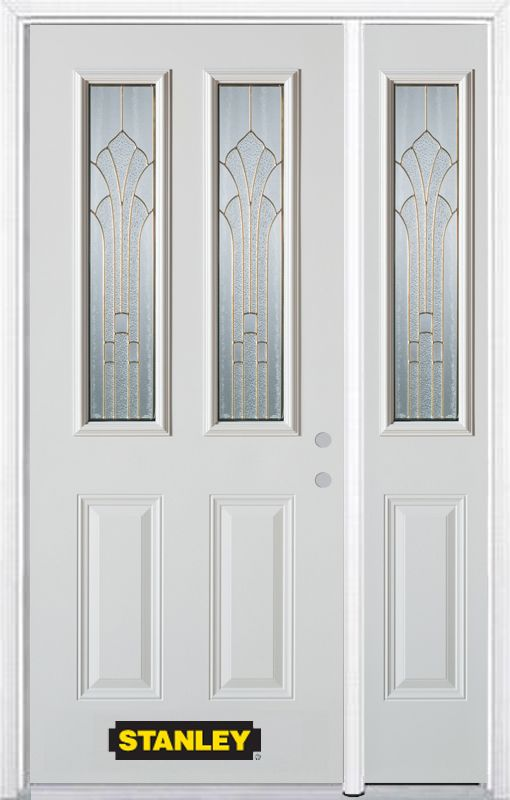 Stanley Doors 50.25 inch x 82.375 inch Gladis Brass 2-Lite 2-Panel Prefinished White Left-Hand Inswing Steel Prehung Front Door with Sidelite and Brickmould