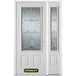 Stanley Doors Porte dentrée en acier préfini en blanc, munie de deux panneaux et dun 3/4 verre, 53 po x 82 po avec panneaux latéraux et moulure de brique