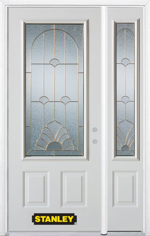 Stanley Doors 52.75 inch x 82.375 inch Florentine Brass 3/4 Lite 2-Panel Prefinished White Left-Hand Inswing Steel Prehung Front Door with Sidelite and Brickmould
