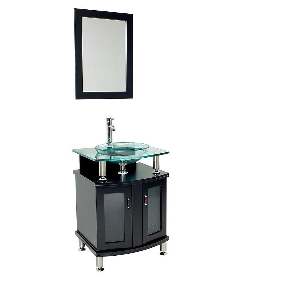 Espresso Modern Bathroom Vanity With Mirror The Home Depot Canada