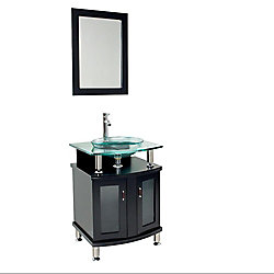 Fresca Contento 23.63-inch W 2-Door Freestanding Vanity in Black With Top in Silver With Faucet And Mirror
