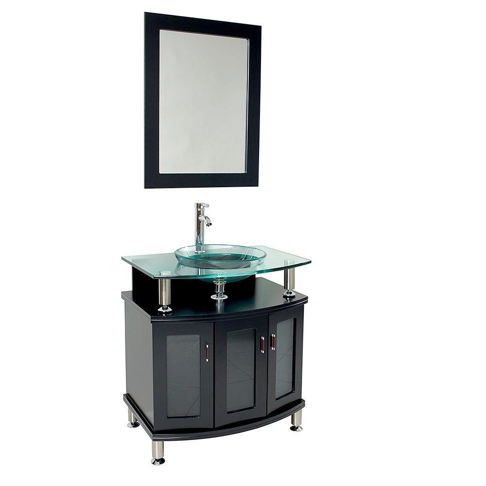 Contendo Meuble-lavabo de salle de bains moderne 30 po espresso avec miroir