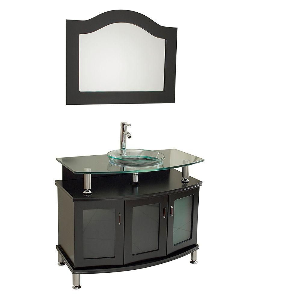 Contento 39-inch W Vanity in Espresso Finish with Mirror