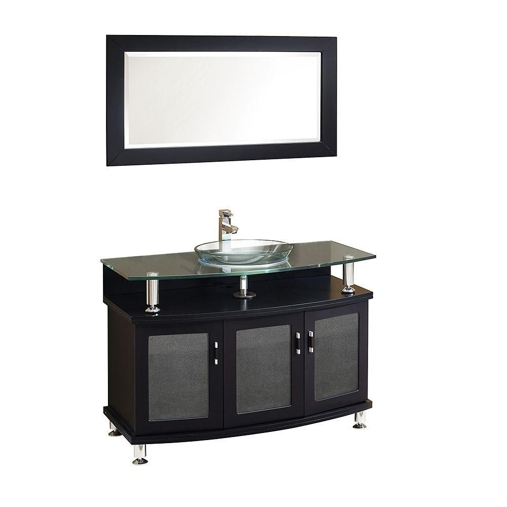 Contento 43-inch W Vanity in Espresso Finish with Mirror