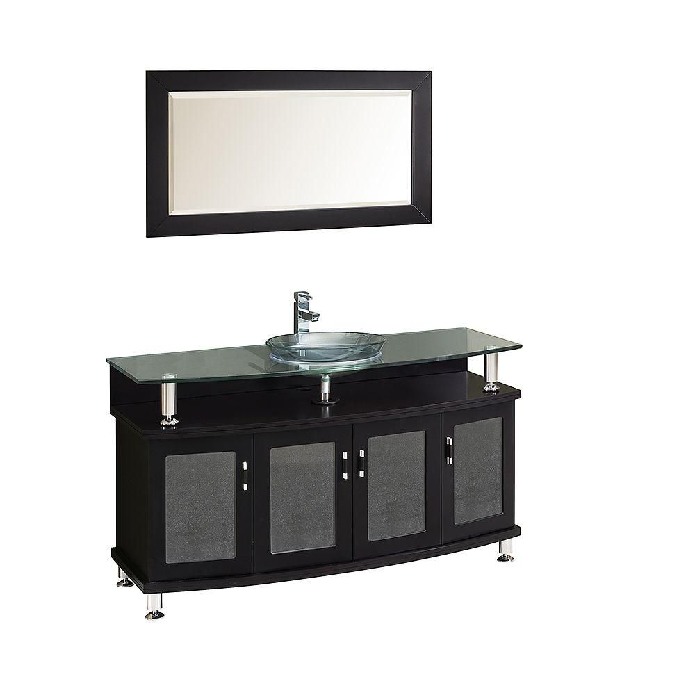 Contendo Meuble-lavabo de salle de bains moderne 55 po espresso avec miroir
