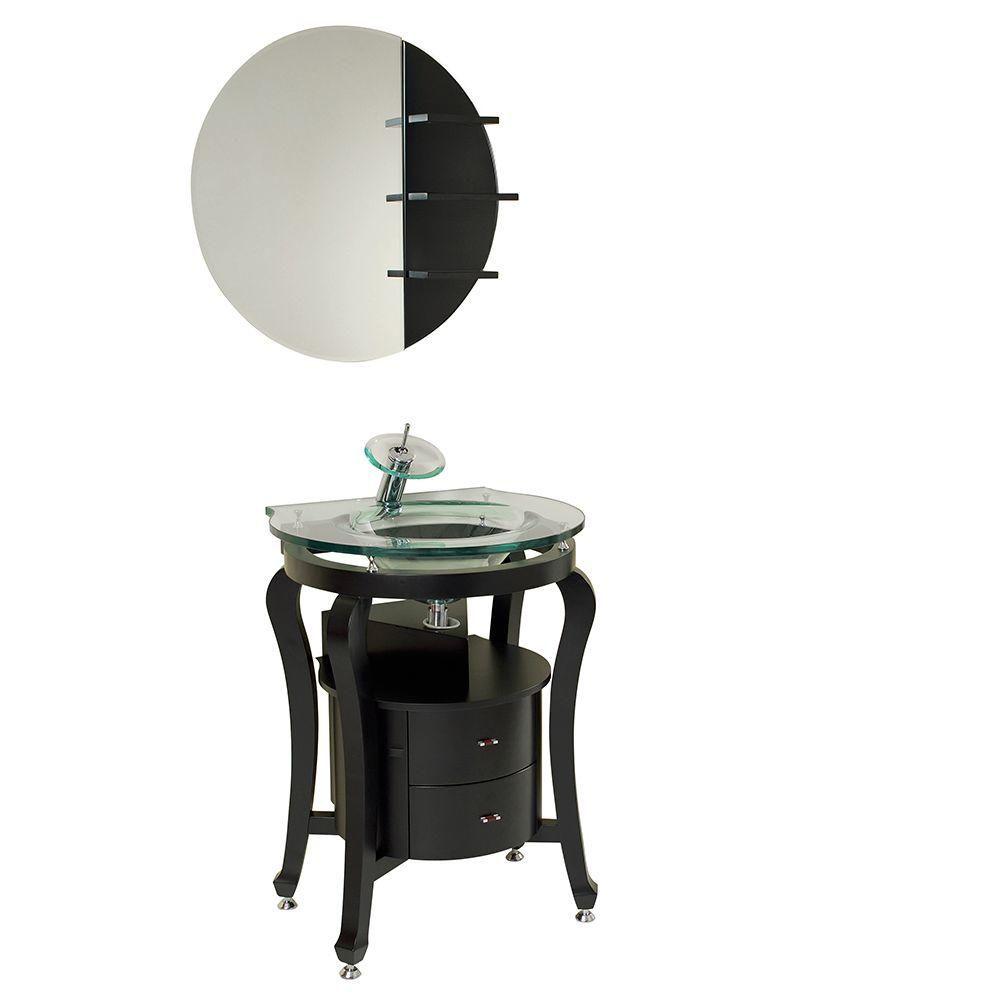 Simpatico 25 1/2-inch W Vanity in Espresso Finish with Mirror and Shelves