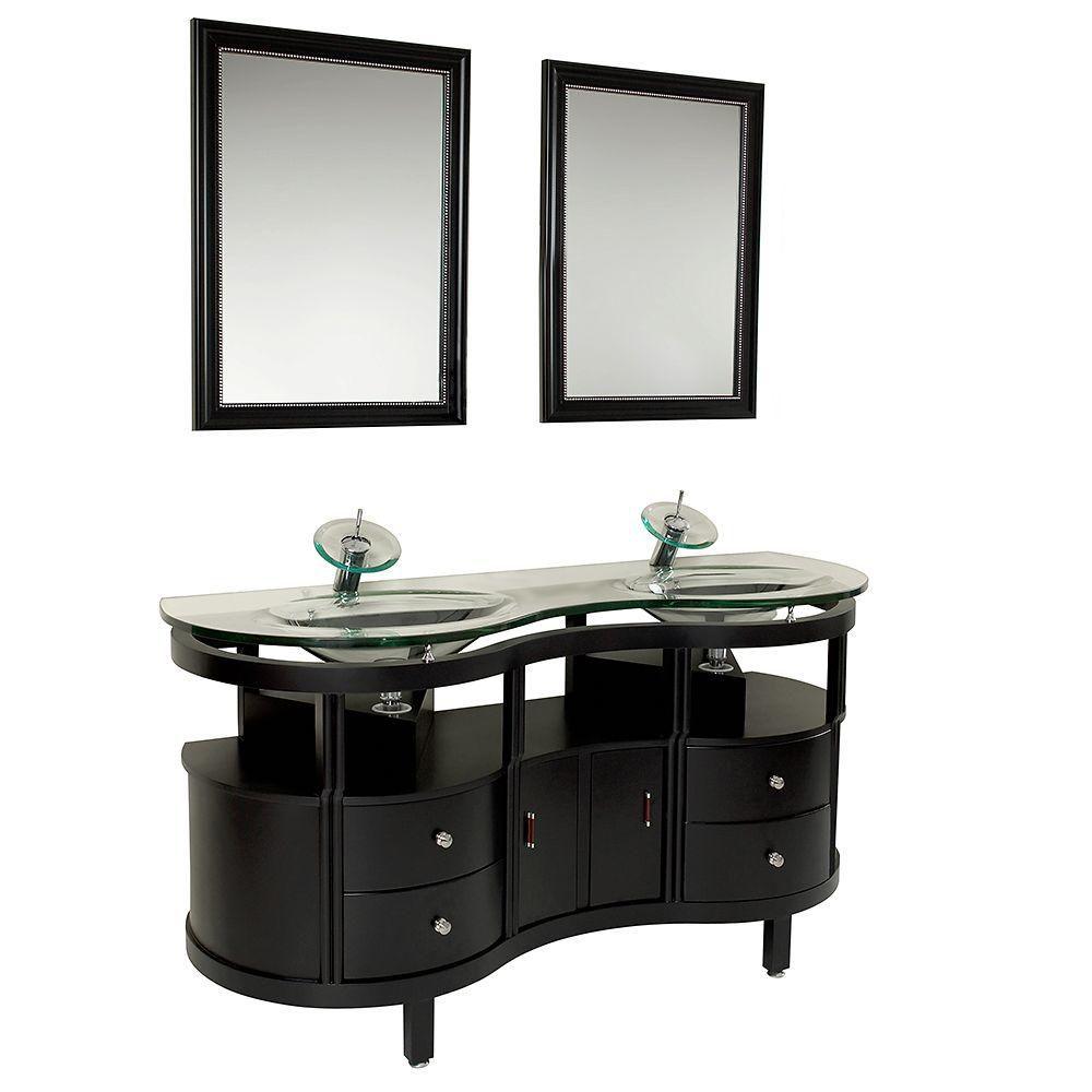 Unico Meuble-lavabo de salle de bains moderne espresso avec miroirs
