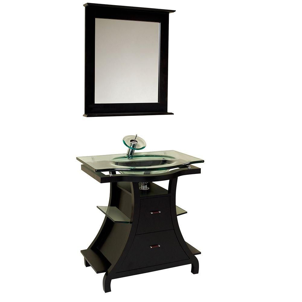 Fresca Cortese 31.75-inch W 2-Drawer Freestanding Vanity in Black With Top With Faucet And Mirror