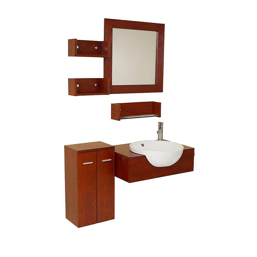 Stile 25.5-inch W 2-Door Wall Mounted Vanity in Red With Top in Brown With Faucet And Mirror