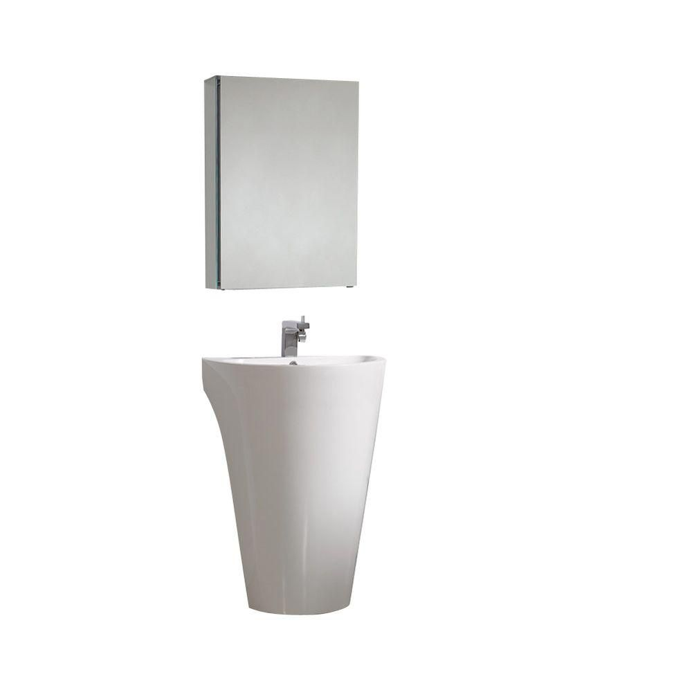 Parma 22 1/2-inch W Pedestal Sink Vanity in White Finish with Medicine Cabinet