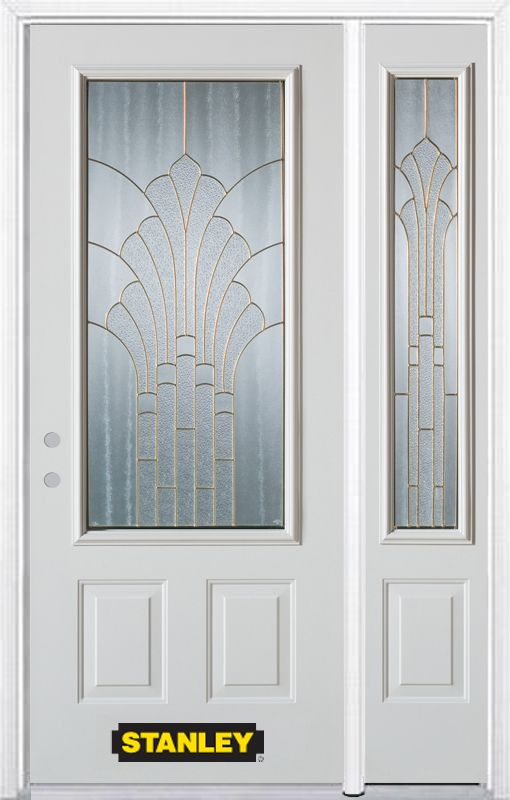 52-inch x 82-inch Gladis 3/4-Lite 2-Panel White Steel Entry Door with Sidelite and Brickmould