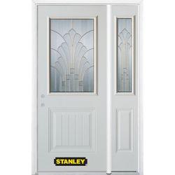 Stanley Doors Porte dentrée en acier préfini en blanc, munie d'un panneau et dun 1/2 verre, 51 po x 82 po avec panneaux latéraux et moulure de brique