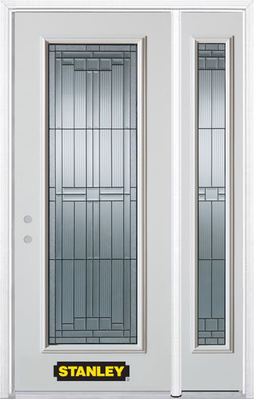 50-inch x 82-inch Seattle Full Lite White Steel Entry Door with Sidelite and Brickmould