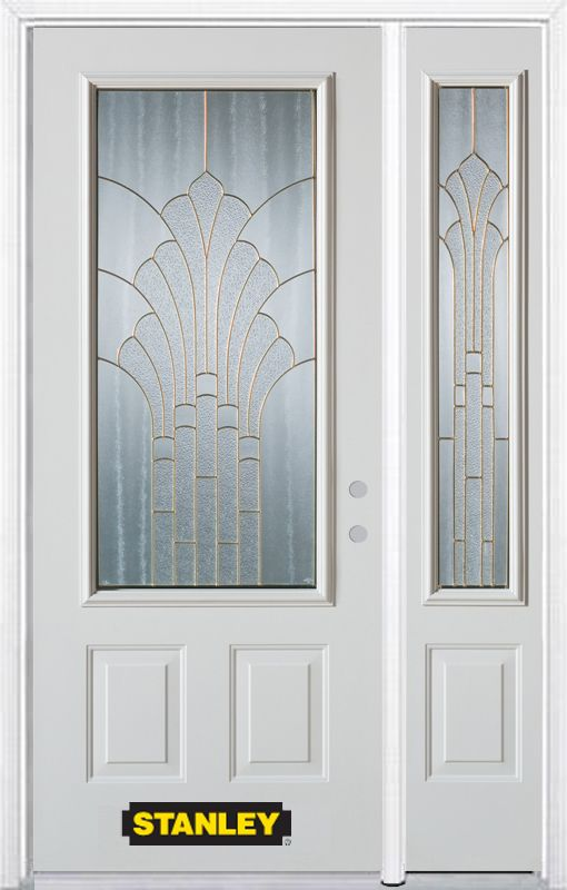 Stanley Doors 50.25 inch x 82.375 inch Gladis Brass 3/4 Lite 2-Panel Prefinished White Left-Hand Inswing Steel Prehung Front Door with Sidelite and Brickmould